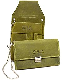 Wild Leder Kellner Set in Grün-Ton robuste und beständige Verarbeitung