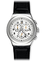 Swatch Men's 'L'Imposante' Quartz Stainless Steel and Leather Casual Watch, Color:Black (Model: YOS451)