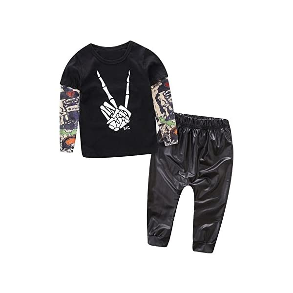 HCFKJ ReciéN Nacido NiñO Bebé Esqueleto Tatuaje Camiseta Tops Pantalones Ropa Conjunto 2