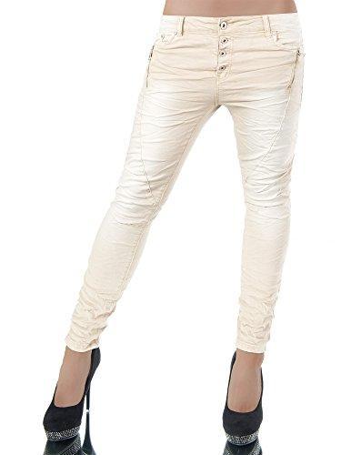 L959 Damen Jeans Hose Hüfthose Damenjeans Chinojeans Boyfriend Röhrenjeans Baggy, Farben:Beige;Größen:38 (M)