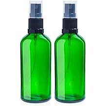 2 x Botellas de vidrio verde vacías de 100 ml con 3 x Pulverizadores de niebla