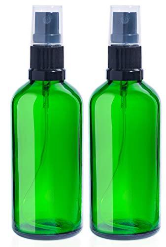 2 x Botellas de vidrio verde vacías de 100 ml con 3 x Pulverizadores de niebla fina negra, Contenedor rellenable para aceites esenciales, productos de limpieza o aromaterapia