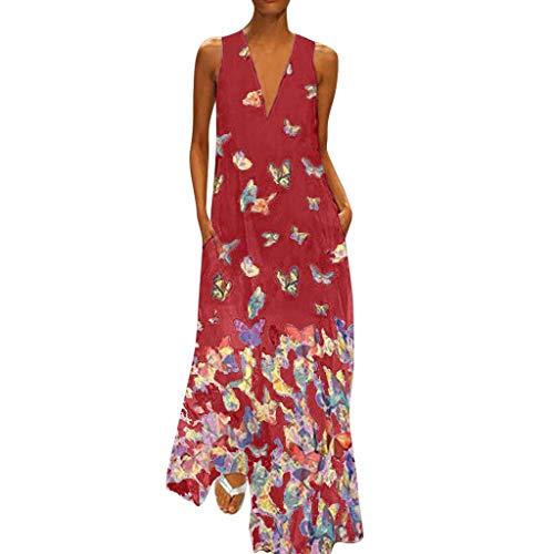 QIMANZI DamenBeiläufig Ärmellos V-Ausschnitt Blumendruck Maxi Tank Langes Kleid(X Rot,4XL) (Rotes Kleid Gala)