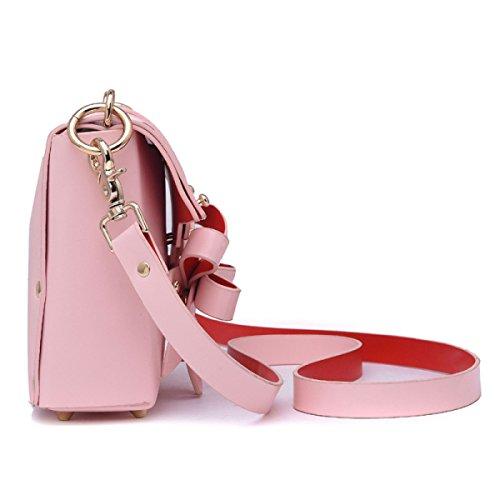 Mode-Weide-Nagel-Bogen-kleine Quadratische Beutel-Schulter-handliche Handtaschen Pink