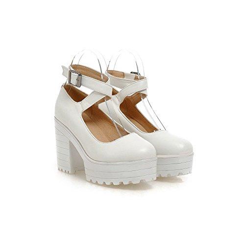 Rodada Senhoras De Puro Fivela Sapatos Voguezone009 Pu Bombas Couro Toe Brancos CYqIwx