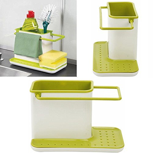 PETRICE 3 IN 1 Stand for Kitchen Sink for Dishwasher Liquid, Brush, Sponge & Soap Holder Plastic Racks Organizer Storage Case Kitchen Sink Utensils Holder Hanger Rack (Colour May Vary).  available at amazon for Rs.399