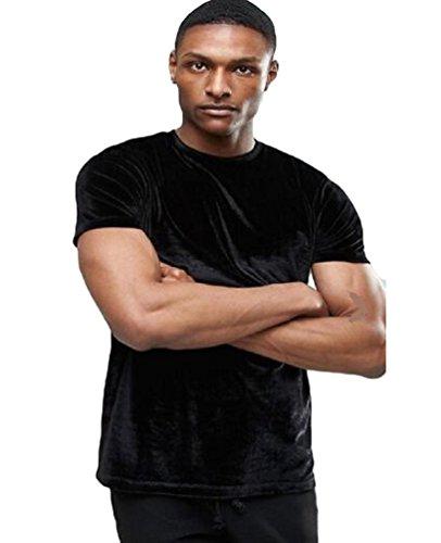 Baymate Herren Hip Hop Samt O-Neck T-Shirt Casual Basic Kurzarmshirt Top Shirt Schwarz XL