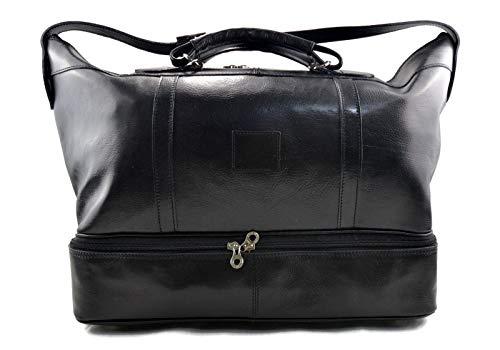 2aeec2a07c Borsone pelle bagaglio a mano borsa viaggio con manici e tracolla vera pelle  nero borsone palestra ...