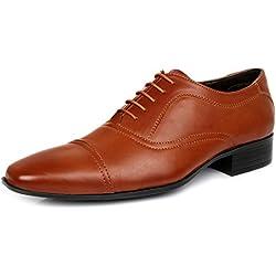 Escaro Men's Tan Formal Oxford Lace Up Dress Shoes (ES1060AG_TAN_9)