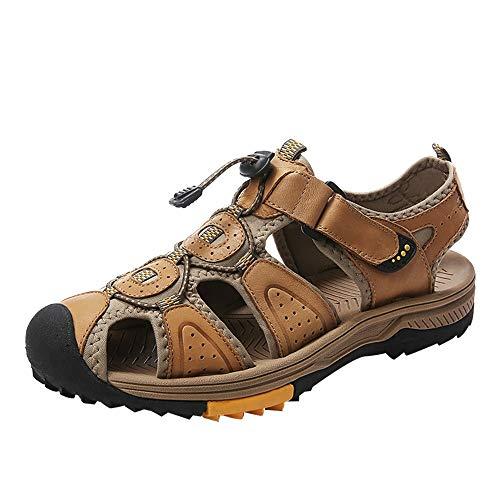 andalen Für Männer Mode Im Freien Freizeit Schuhe Elastische Lace Up Stil OX Leder Manuelle Naht Hohl Hakenschlaufe Gurt Hausschuhe (Color : Khaki, Größe : 39 EU) ()
