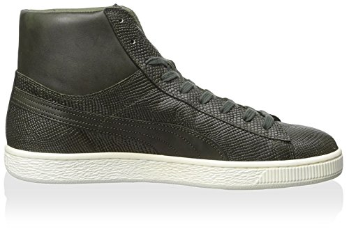 Puma States Mid MII Hommes Cuir Baskets Forest Night-Whisper White