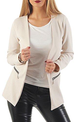 Damen lang Blazer mit Taschen ( 501 ), Farbe:Beige, Blazer 1:44 / XXL