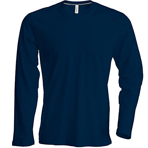 Ärmel Nackenband (Kariban - Herren Langarm Rundhals T-Shirt / Navy, XL)