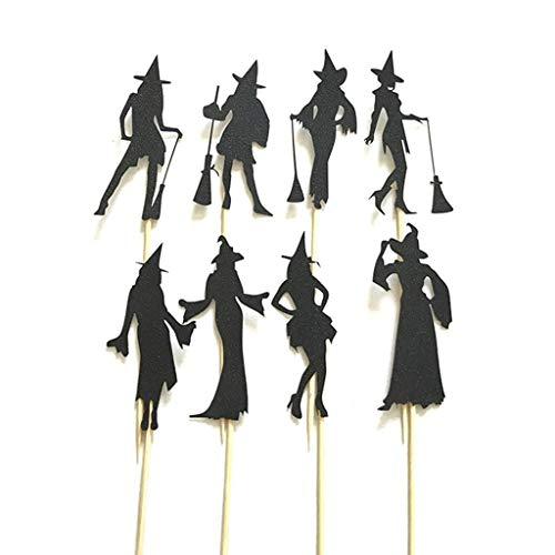 Exing 8 PCS Halloween Hexe Cupcake Toppers Kuchendekoration Kuchen Toppers Sticks, Papier + Holz 10cm