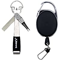 SAMSFX Fly Fishing Tools Kits Retractor Zinger with Line Clipper Nippers Scissor Combo