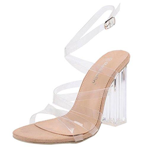 86dff49d4cbaf5 Oasap Damen Transparent CrossRiemen Offen High Heels Sandalen Apricot