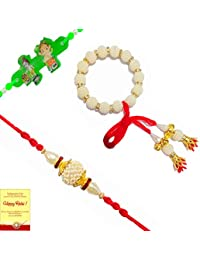RV Multi Colour Set of Family Rakhi Along With Roli, Tilak and Chawal