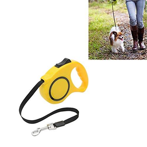 SRY- Haustierzubehör Haustier-einziehbare Leine automatische ausdehnende Haustier-gehende Führungen, Länge: 3m Nett und praktisch ( Color : Yellow ) (Shorts Walking Baumwolle)