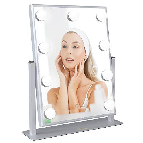 Ovonni Spiegel Bleuchtung Mit 9 LED Lampen Warmes/Kaltes Licht Kosmetikspiegel Schminkspiegel für Perfekt Make-Up (Silber, Groß)