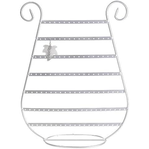 HarpJewl - Espositore portagioielli in metallo spazzolato argento, per orecchini, a forma di arpa