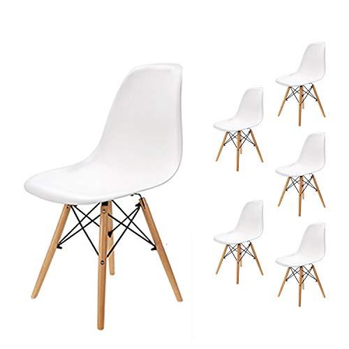 EGNM Pack 6 sillas de Comedor Blanca Silla diseño nórdico Retro Estilo...