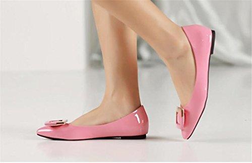 QIYUN.Z Les Femmes Casual Chaussures Shaalow Talon Plat Mode Boucle Chaussures Bout Pointu De La Cheville Rose