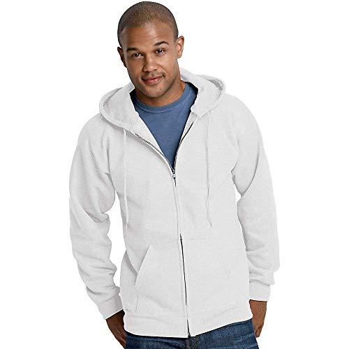 Hanes Ultimate Cotton Full-Zip Fleece Hood 10 Oz Sweatshirt, White, L
