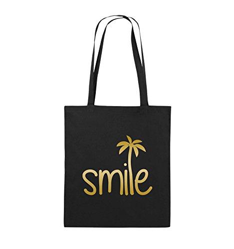 Comedy Bags - smile - PALME - Jutebeutel - lange Henkel - 38x42cm - Farbe: Schwarz / Pink Schwarz / Gold