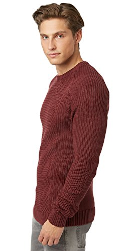 Tom Tailor Denim - Pull Tom Tailor Denim Structured Crew With Cables Rouge