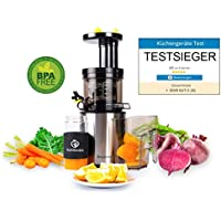 Nutrilovers Slow Juicer Edelstahl Entsafter Saftpresse | Entsaftet elektrisch Obst und Gemüse | nur 45 U/min | BPA-Frei - ULTEM | Extra Sieb für Eis und Sorbets - Rezeptbuch; silber