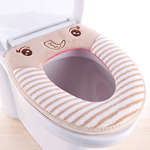 XING GUANG Steigbügel Tong Tong Thong Kissen WC-Sitz WC-Schüssel Universal-Typ Knopf-Typ Dicke Warme Winter WC-Sitz,Beige - Beige Thong
