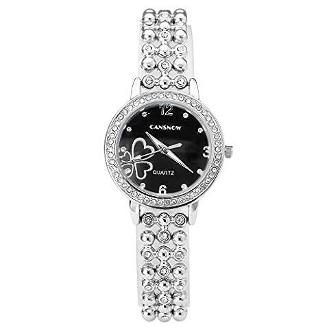 JSDDE Women Girls Fashion Crystal Rhinestone Heart Pattern Case Beaded Watch Band Black Face Silver Band Analog Quartz Metal Bracelet Wrist Watch