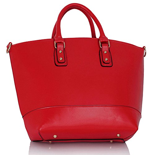 Trendstar Frauens Maxi Entwerfer Schulter Leder Taschen Stilvolle Shopper Handtaschen (X - Grau/Nude) Rot