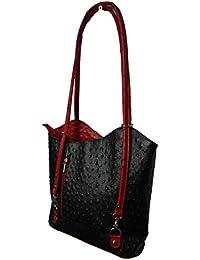 096e4399d1e31 Echt Leder Designer Handtasche Black and Red Strauss von Einkaufszauber