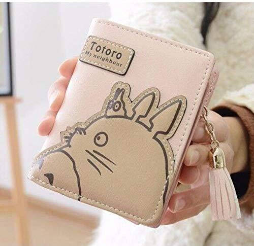 SWVV Anime Mein Nachbar Totoro Rosa Geldbörse Quaste Reißverschluss faltender Geldbeutel Cosplay Tasche