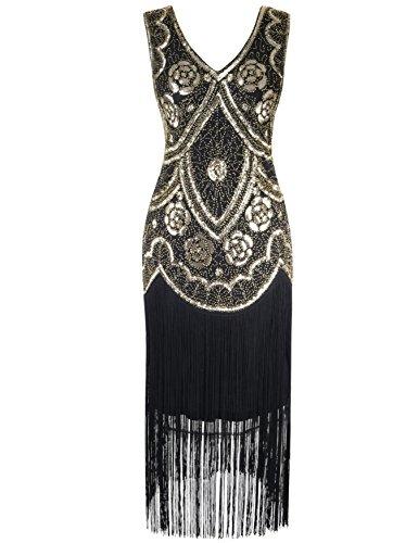 ge 1920er V-Ausschnitt Pailletten Perlen Floral Flapper Gatsby Kleid S Gold (Gold Flapper)