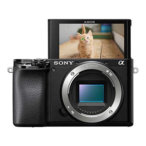 Sony Alpha 6100 E-Mount Systemkamera (24 Megapixel, 4K Video, 180° Touch-Display, 0.02 Sek. Echtzeit-Autofokus mit 425 Kontrast AF-Punkten inkl. Augen-AF, OLED Sucher, nur Gehäuse) schwarz