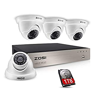 ZOSI 8-Channel Outdoor CCTV Camera System, 4x 720P 1.0mp Dome Security Camera System, 1080N TVI DVR Security System w/1TB Hard Drive, Home Security Surveillance DVR Kit (white)