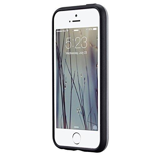 iPhone 5 / 5S / SE Hülle, Yokata 2 in 1 Cover 2 Layer Hybrid Case Innere Weich TPU Silikon Backcover mit Hart PC Rüstung Armor Case Schutz Anti-stoß Schutzhülle + 1 x Kapazitive Feder Grau