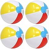 com-four® 4X Ballon de Plage, Beachball de Couleurs fraîches et fruitées, Ø 26 cm (Ø 26 cm - 04 pièces)