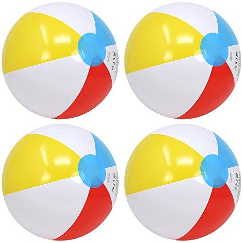 Wasserball-zubehör (com-four® 4X Wasserball, Beachball in fruchtig-frischen Farben, Ø 26 cm (Ø 26 cm - 04 Stück))