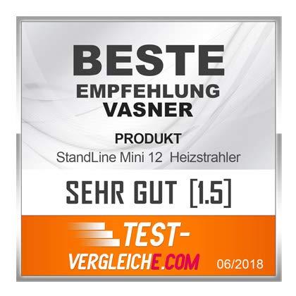 VASNER StandLine Mini 12 Infrarot Standheizstrahler 1200 Watt mit Abdeckhaube, Thermostat, Carbon Standstrahler Standheizung Standgerät - 3