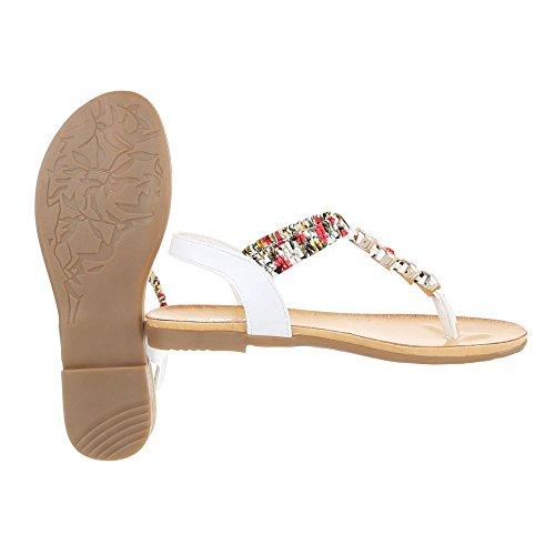Zehentrenner Damenschuhe Peep-Toe Blockabsatz Strass Besetzte Ital-Design Sandalen / Sandaletten Weiß