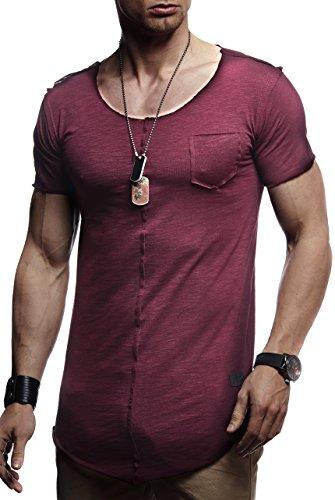 LEIF NELSON Herren Sommer T-Shirt Rundhals-Ausschnitt Slim Fit Baumwolle-Anteil   Basic Männer T-Shirt Crew Neck Hoodie-Sweatshirt Kurzarm lang   FBA6288 Bordeaux Large