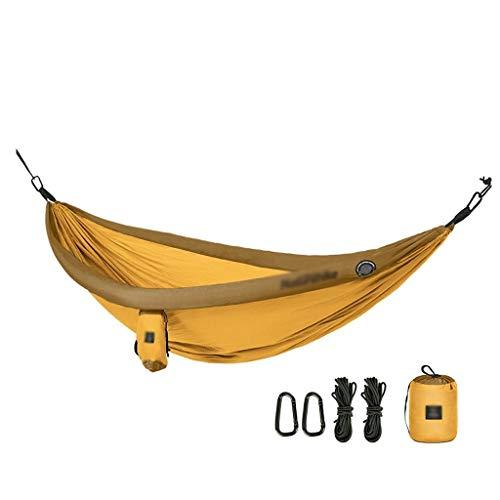 Liutao Hängende Bett Schaukel Tragbare Hängematte Outdoor Indoor Home Schlafen Schaukel Einzel Doppel Hängesessel Camping (Color : Yellow, Größe : 240 * 173cm) -