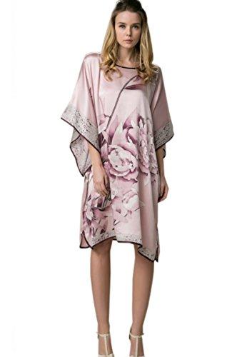 Prettystern - 100% Crêpe Satin de soie Kimono nuisette avec handpainted peinture chinoise YBS302 Rose