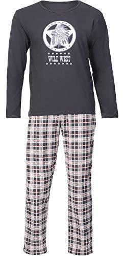 Timone Herren Schlafanzug TI30-115 (Graphit Kariert6, XXXL)