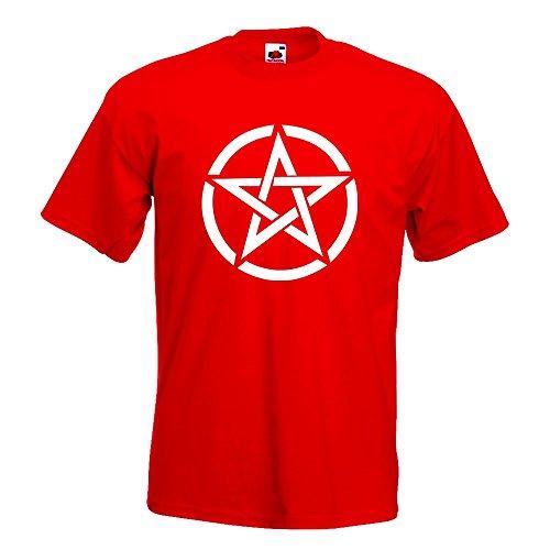 KIWISTAR - Pentagramm Motiv2 T-Shirt in 15 verschiedenen Farben - Herren Funshirt bedruckt Design Sprüche Spruch Motive Oberteil Baumwolle Print Größe S M L XL XXL Rot