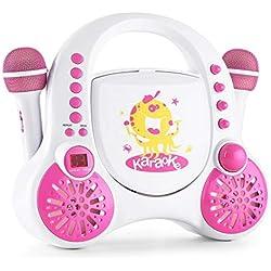 AUNA Rockpocket A-WH - Chaîne Karaoké, 2 Micro Inclus, Lecteur CD+G, Enceintes Stéréo, Fonction répétition, AVC et écho, Alimentation par Piles ou Batterie intégrée, Blanc