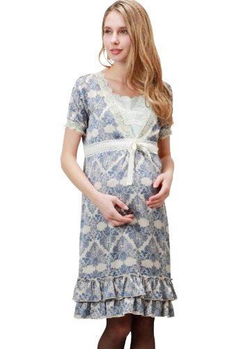 KO4021 Ensemble pour la maternité et l'allaitement Robe+Fond de robe blue
